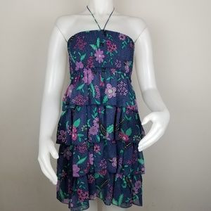 American Eagle S Floral Halter Smocked Dress